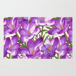Purple Floral Pattern Rug