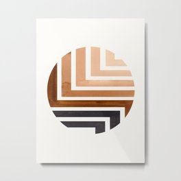 Raw Umber Circle Round Framed Mid Century Modern Aztec Geometric Pattern Maze Metal Print