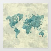 vintage map Canvas Prints featuring World Map Blue Vintage by City Art Posters