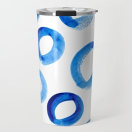 Brushy Blue Circles Travel Mug