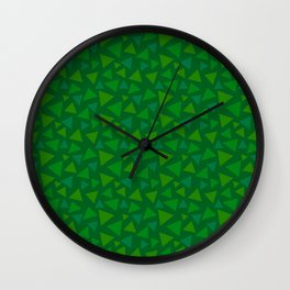 animal crossing floor patterns tri deep Green Wall Clock