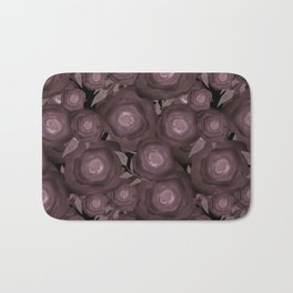 Abstract flowers in black and brown colours . Bath Mat