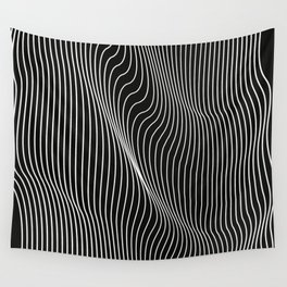 Minimal curves black Wall Tapestry