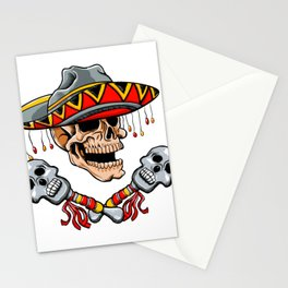 Skull Mexican style with sombrero and maracas Stationery Cards