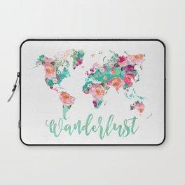Wanderlust watercolor world map Laptop Sleeve