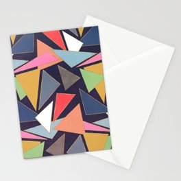 Modern Contemporary Gold Strokes Colorful Triangles Stationery Cards