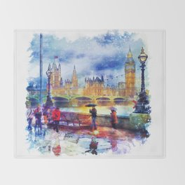 London Rain watercolor Throw Blanket