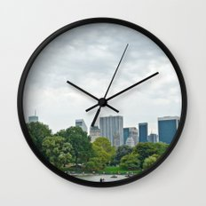Sunday morning in Central Park NYC Wall Clock