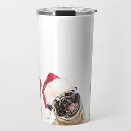 3 Emotional Pugs before Christmas Travel Mug