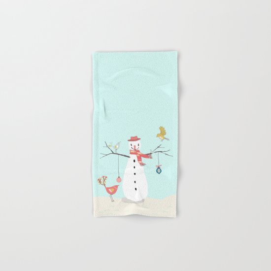 Winter fun- Funny snowman and birds - Illustration Hand & Bath Towel
