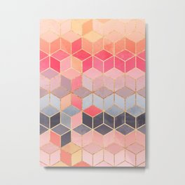 Happy Cubes Metal Print