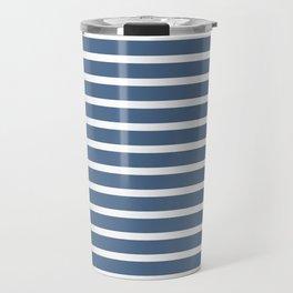 Blue and White Nautical Beach Stripes Beach Fashion Travel Mug