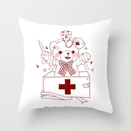 The Adventures of Bear and Baby Bear-Who's hurt? Throw Pillow