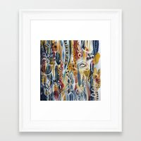 mid century modern Framed Art Prints featuring Mid-Century Modern Floral by katfish design