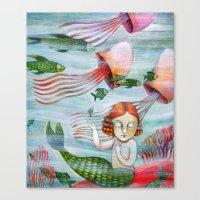siren Canvas Prints featuring SIREN by Lauraballa StudioArte