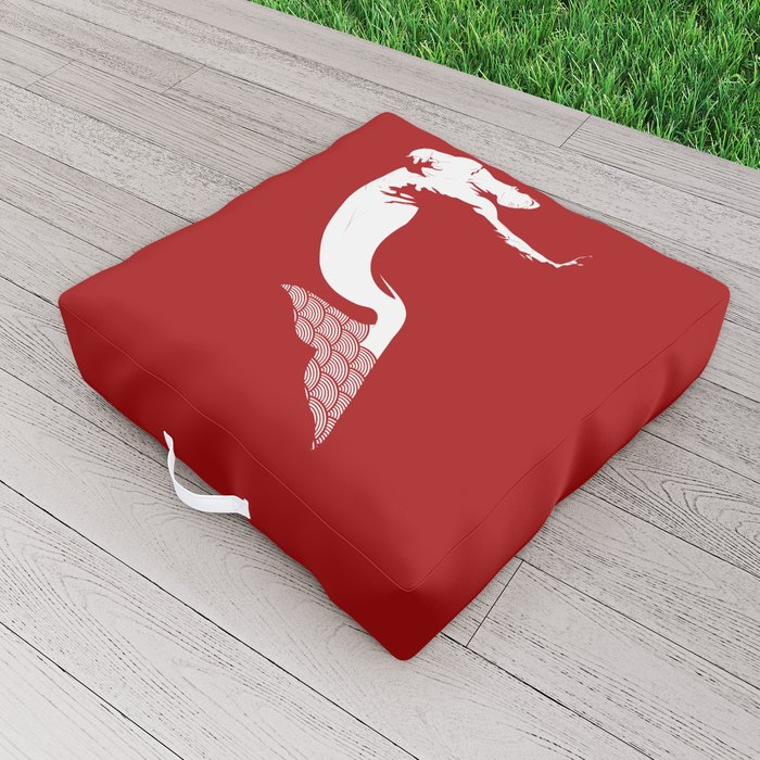 Merman - Red & White - Mermay 2019 Outdoor Floor Cushion