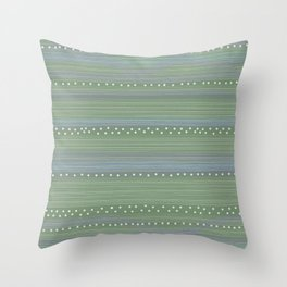 Green with Stripes and Dots Throw Pillow