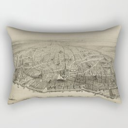 Vintage Pictorial Map of Antwerp Belgium (1852) Rectangular Pillow