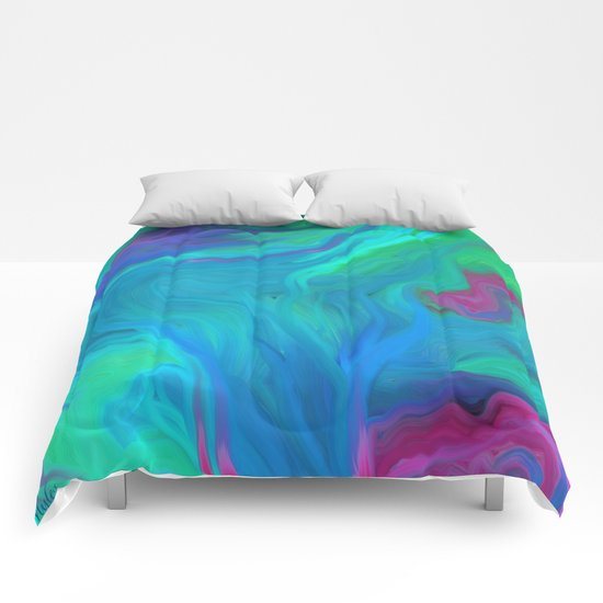 AGATE BLUE ABSTRACT OIL PAINTING Comforters