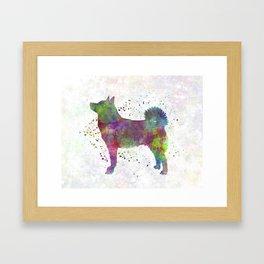 Norwegian Buhund in watercolor Framed Art Print