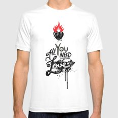 All You Need is Love White MEDIUM Mens Fitted Tee