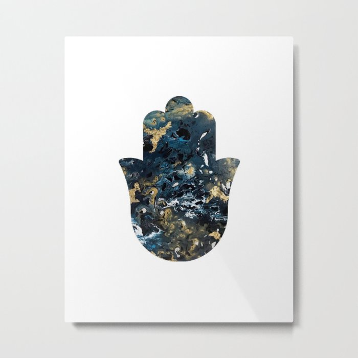 Hamsa in Outer Space Metal Print