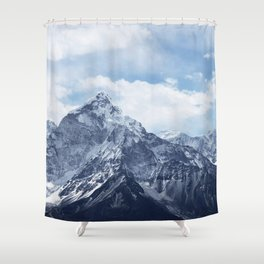 Snowy Mountain Peaks Shower Curtain