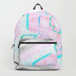 Pale Pink and Teal Viola Hybrid Flower Abstract Art Watercolor Backpack