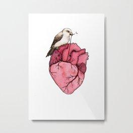bird on heart peace love cute art draw 2018 Metal Print