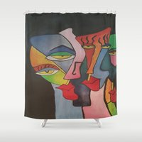 faces Shower Curtains featuring faces by loomy