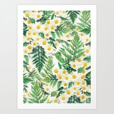 Textured Vintage Daisy and Fern Pattern  Art Print