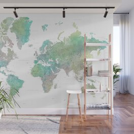 "Highly detailed watercolor world map, ""Oriole"" Wall Mural"