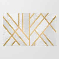 deco Area & Throw Rugs featuring Art Deco Geometry 2 by Elisabeth Fredriksson
