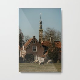 Historical Dutch village photography | Sheep grazing | Church in the Netherlands | Architecture  Metal Print