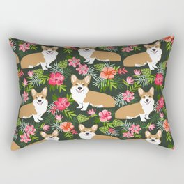 Welsh Corgi hawaiian print pattern florals tropical summer dog breed pet portrait Rectangular Pillow