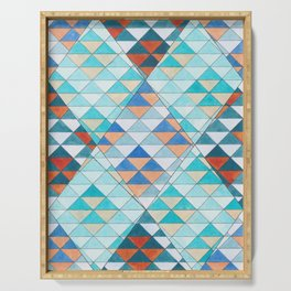 Triangle Pattern No.10 Shifting Turquoise and Orange Serving Tray
