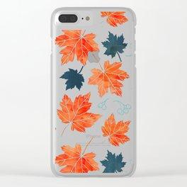 Autumn leaves against dark blue Clear iPhone Case