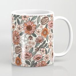 70s flowers - 70s, retro, spring, floral, florals, floral pattern, retro flowers, boho, hippie, earthy, muted Coffee Mug