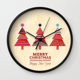 Three Christmas Trees Wall Clock
