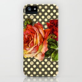victorian red roses and polka dots iPhone Case