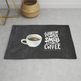 Coffee blackboard lettering — Wake up and smell the coffee Rug