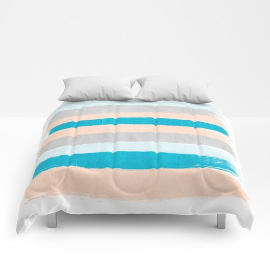 Painted stripes minimal bright summer palette boho striped for Minimalist comforter