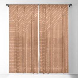Lines (Rust) Sheer Curtain