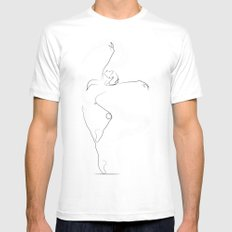 'Unfurl', Dancer Line Drawing White MEDIUM Mens Fitted Tee