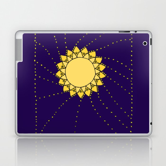 Celestial Swirling Sun Boho Mandala Hand-drawn Illustration Laptop & iPad Skin