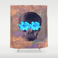 day of the dead Shower Curtains featuring Day of the Dead by Charlotte Anderson