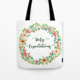 Defy Expectations - A Floral Print Tote Bag