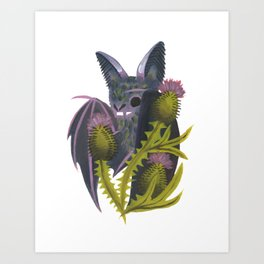 bat & bull thistle Art Print