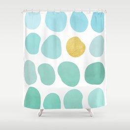 Exceptional Aqua Pebbles U0026 Gold Shower Curtain