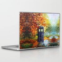 fandom Laptop & iPad Skins featuring starry Autumn blue phone box Digital Art iPhone 4 4s 5 5c 6, pillow case, mugs and tshirt by Three Second